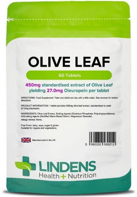 Olive Leaf Extract 450mg x 60/120 Tablets (27mg Oleuropein); Lindens